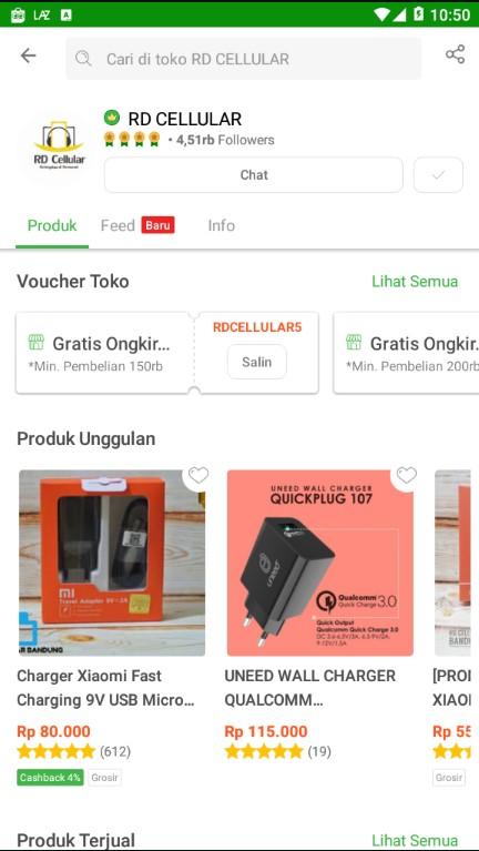 Profile Toko Aksesoris Handphone RD Cellular di Tokopedia.