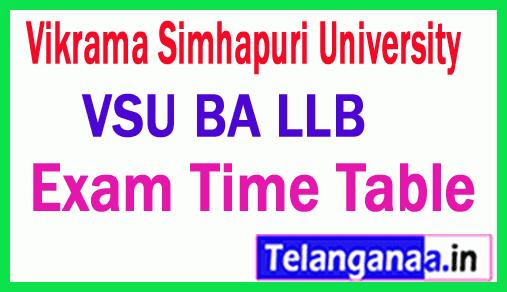 Vikrama Simhapuri University BA LLB  Exam Time Table
