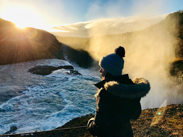 The Golden Circle, Gullfoss waterfall, travel, female travel, nature, winter