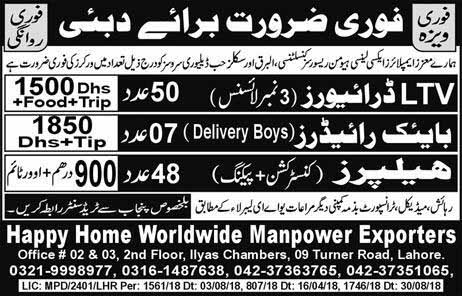 Jobs in Dubai Novmber 2018