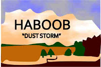 A graphic by Erika Grey of a Haboob, showing a giant tan colored cloud with the words Haboob  and dust storm written in capital letters in the cloud. Below the cloud are trees and a lake and the Haboob is contrast against clouds in the sky.