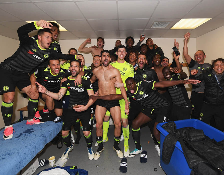 Chelsea Dressing Room After Beating West Brom To Clinch EPL Title