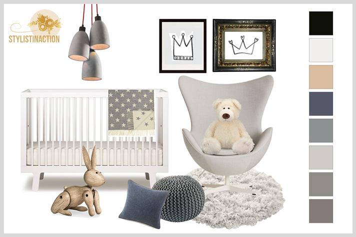 Deco Styling para bebes - cuarto no tradicional en grises para nena o varon
