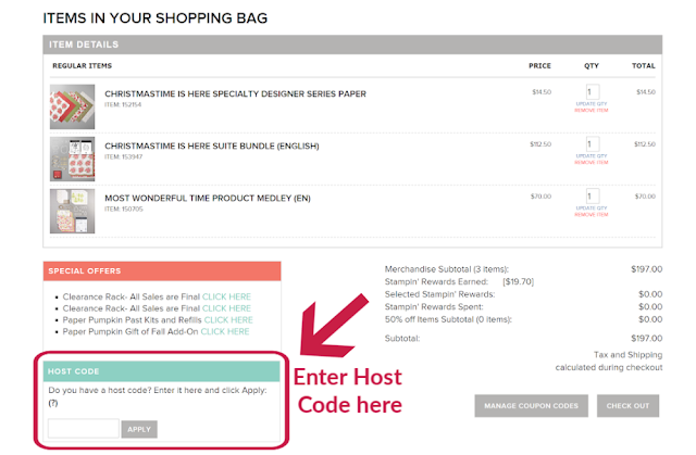 Where to enter the Host Code on your Stampin' Up! shopping page