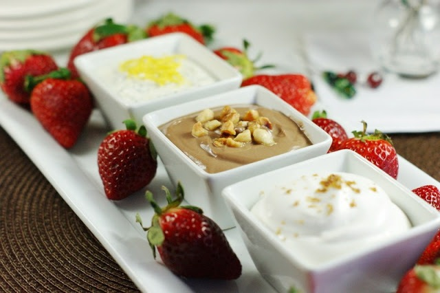 A Trio of Dips with Strawberries