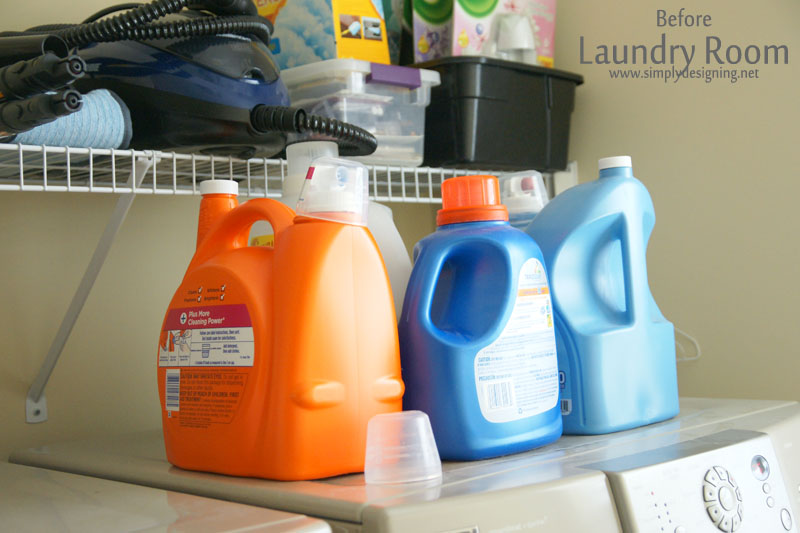 Plastic bottles of laundry soap sitting on top of a washing machine