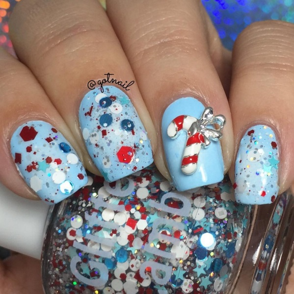 NEW- Peppermint Blizzard Glitter Nail Polish - Christmas Indie Cool Handmade Lacquer Swatch by @gotnail