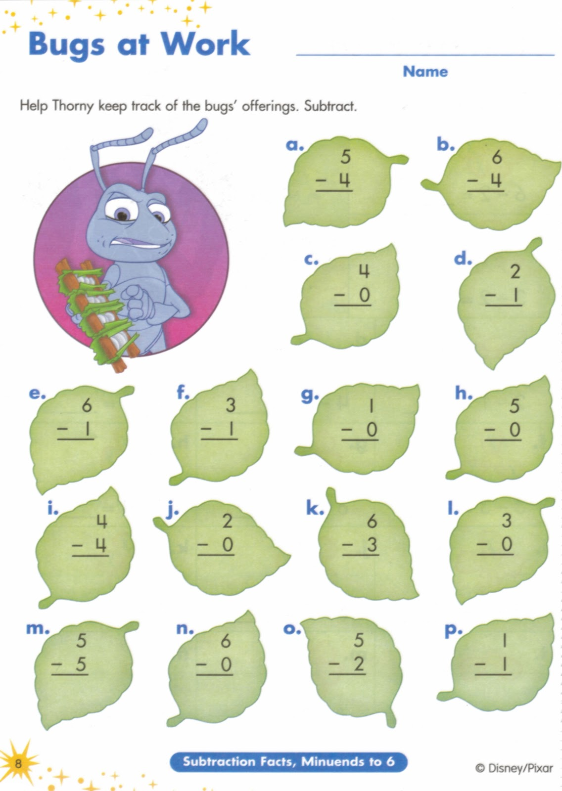 Subtracting Worksheet 3s