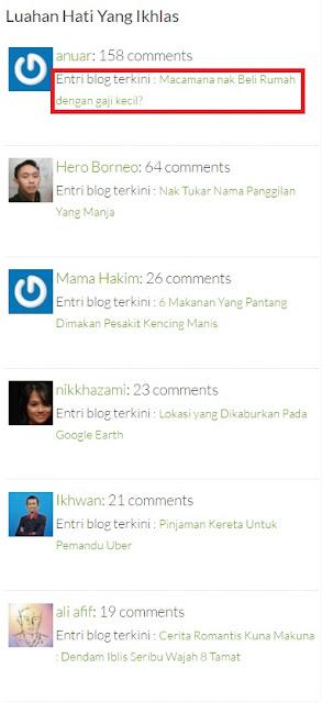 Senarai penulis Komen Terbanyak di Blog Denaihati