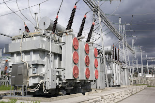 high voltage transformers in electrical substation