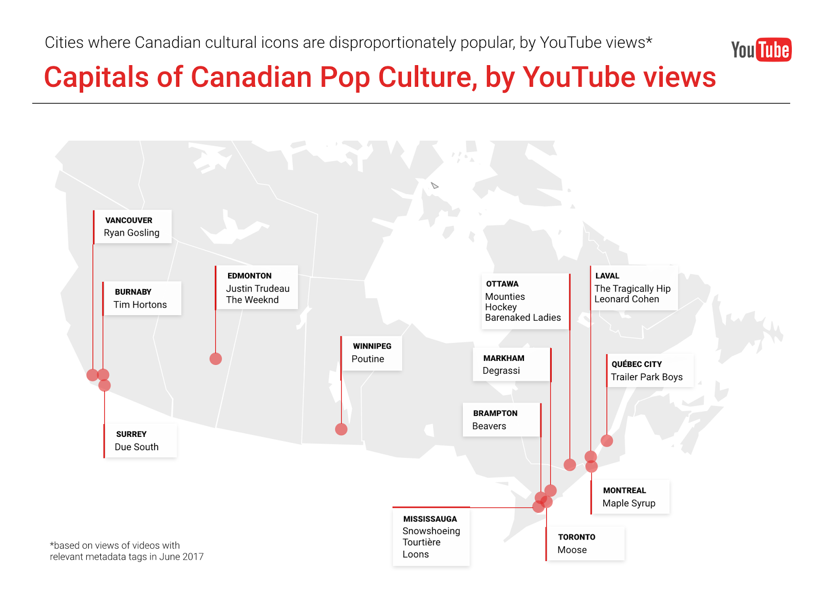 Canadian Pop Culture Capitals According To Youtube Utter Buzz Whole Lotta Humbucker Wiring Diagram Does Ottawa Dominate When It Comes Watching Videos About Snowshoeing Which City Is Most Interested In Poutine Weve Crunched The Numbers For