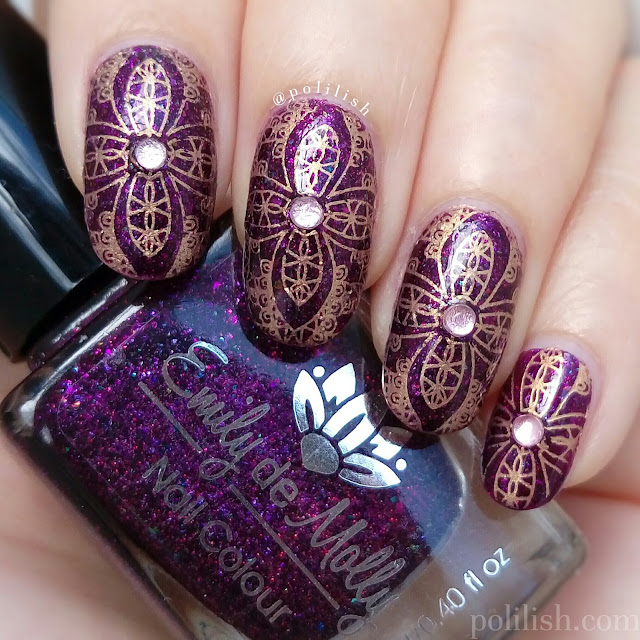 Ornate nail art with Emily de Molly 'Calibrated' and Bundle Monster festival plate