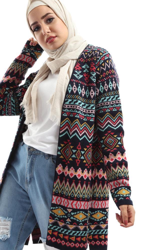 Slip On Decorated Cardigan – Multicolour