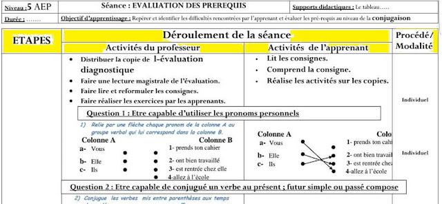 جذاذة التقويم اتشخيصي باللغة الفرنسية word