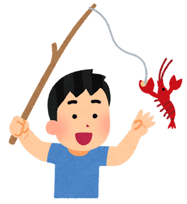 ザリガニ釣りのイラスト