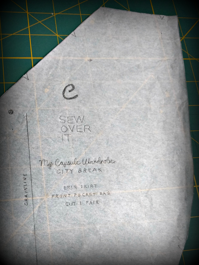 The front pocket bag is called the front pocket facing in the Sew Over It Erin skirt instructions.