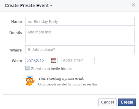 how to create a private event on facebook page