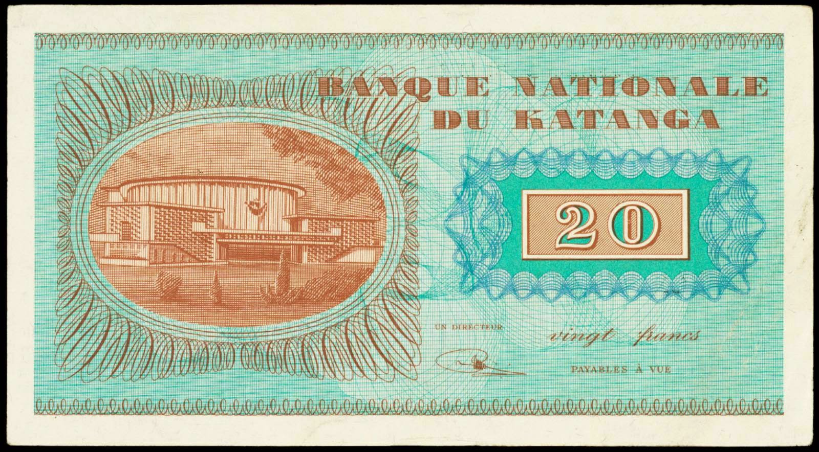 Katanga paper money 20 Francs note 1960