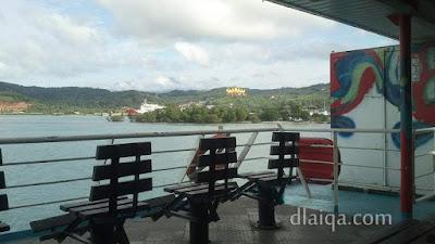 Menara Siger dilihat dari kapal ferry
