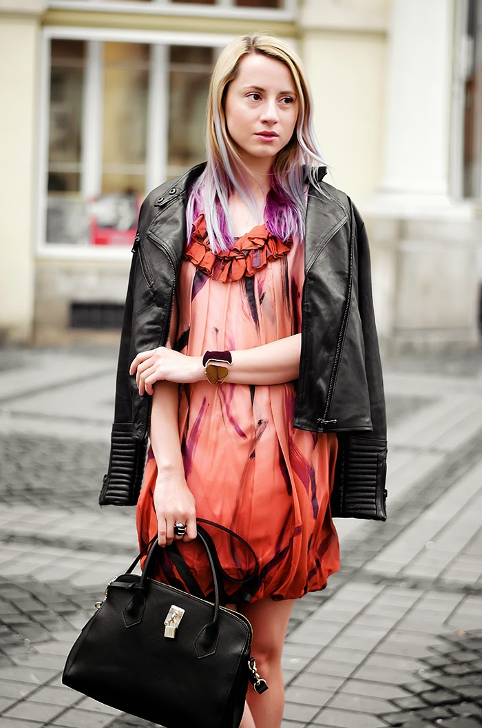 Pull & Bear leather jacket Stella McCartney silk dress