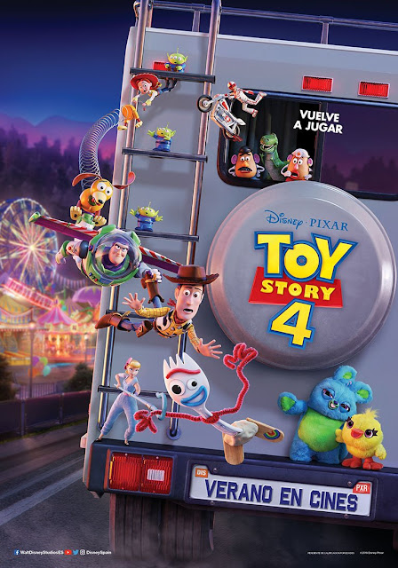 The Toy Story 4 gang performing a dramatic rescue off the back of an RV