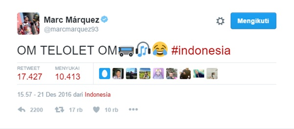 Marc Marquez Juga Ikut Ngetweet Om Telolet Om