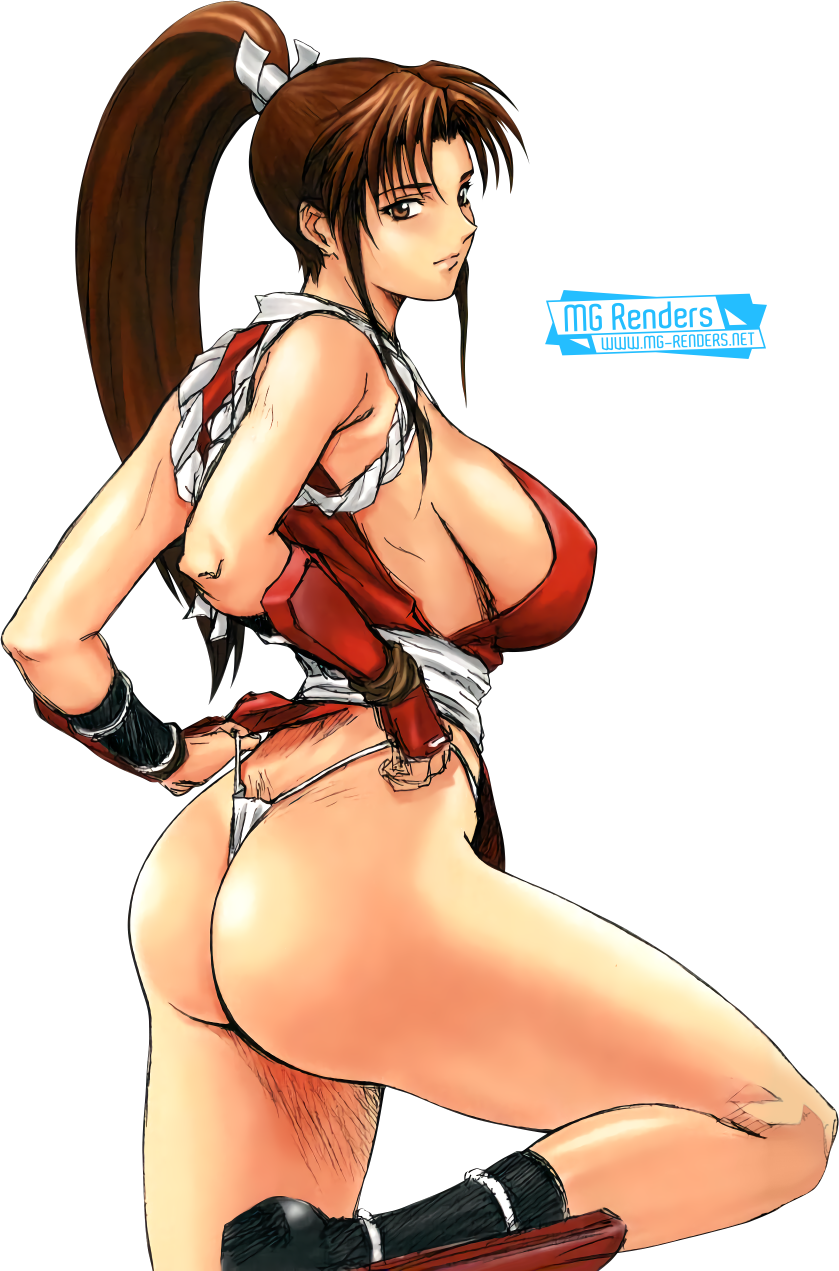 Tags: Anime, Render,  Bare hips,  Bare legs,  Bare shoulders,  From behind,  Shiranui Mai,  Sideboob,  The King of Fighters, PNG, Image, Picture
