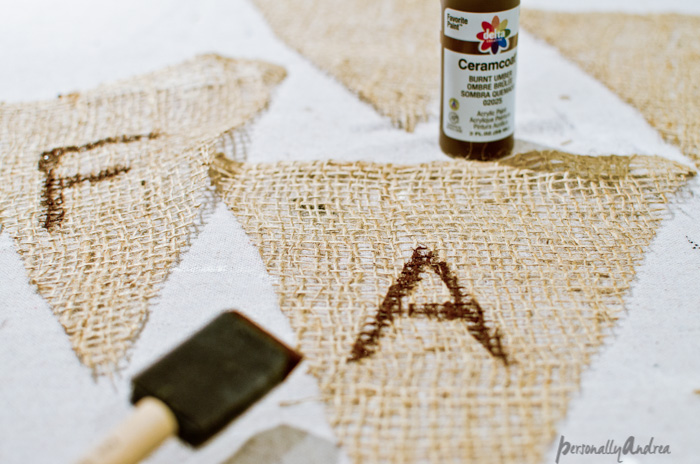 Craft Paint and Foam Brush for Burlap | personallyandrea.com