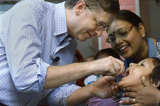 Bill Gates Administers Polio Vaccine in India.