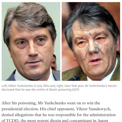screen cap from the Indpendent showing before and after pictures of Viktor Yushchenko, whose face was destroyed by dioxin