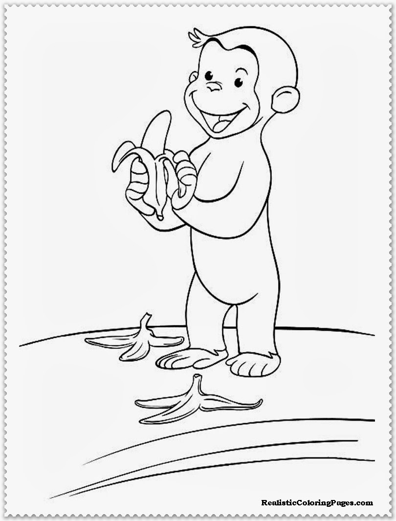 curious george eating banana coloring pages