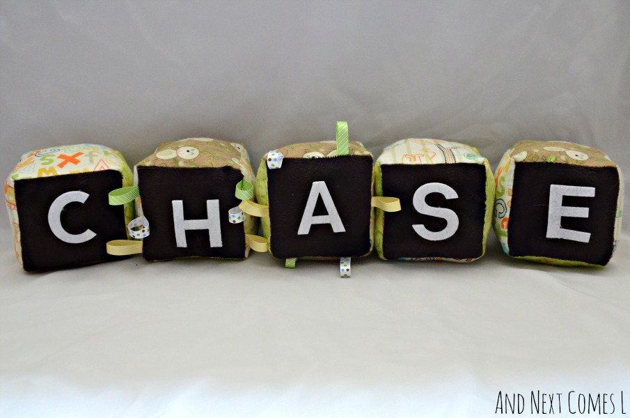 Personalized baby gift idea - homemade fabric blocks with free printable template from And Next Comes L