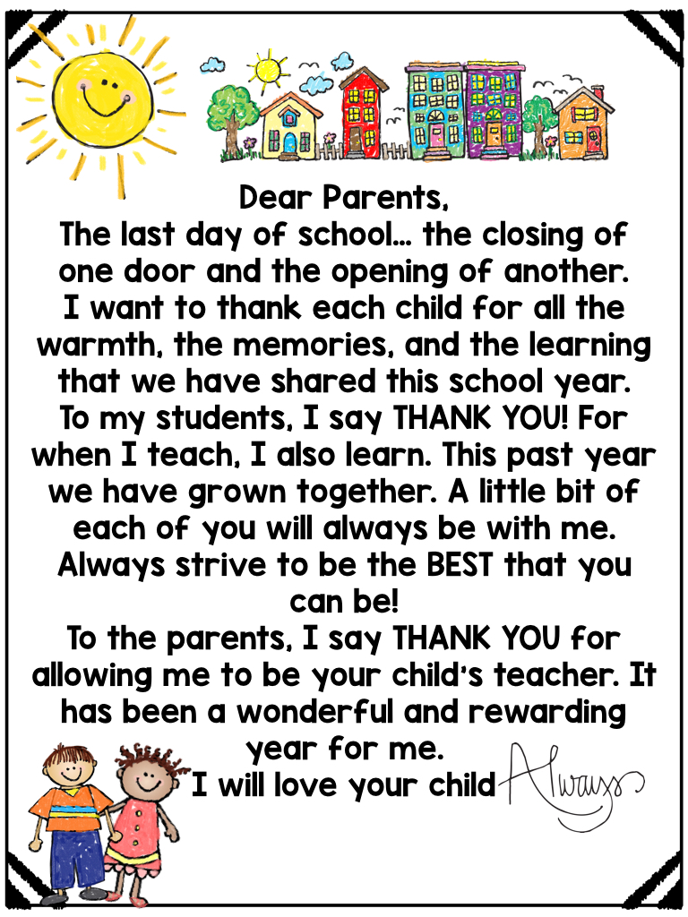end of year letter to parents from preschool teacher Parlo