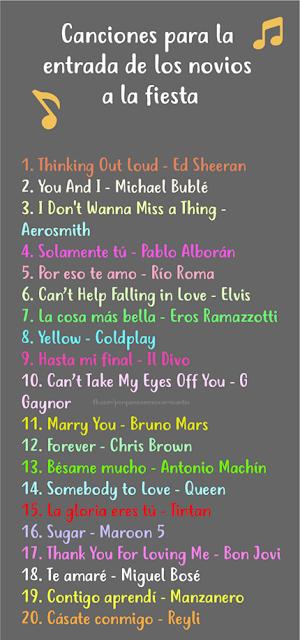 canciones para la entrada de los novios