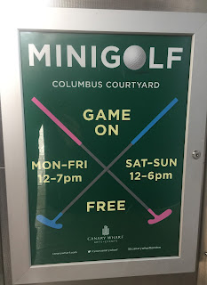 There's a minigolf course at Columbus Courtyard in Canary Wharf, London. Photo by Gareth Holmes, June 2017