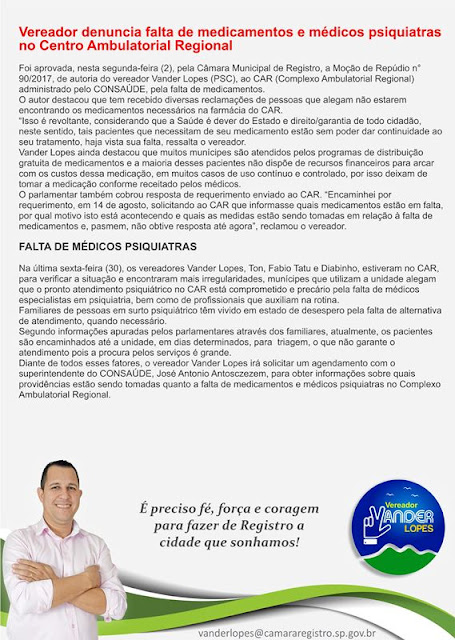 Vereador denuncia falta de medicamentos e médicos psiquiatras no Centro Ambulatorial Regional