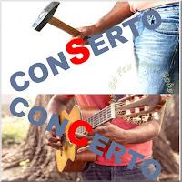 Figura representando a diferença entre concerto e conserto. Quem toca violão faz um concerto. Quem usa o martelo faz um conserto.