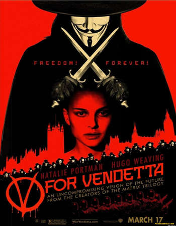 Poster Of V for Vendetta 2005 Dual Audio 350MB BRRip 480p Free Download Watch Online Worldfree4u