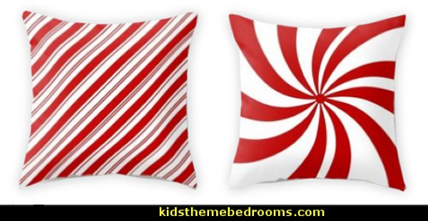 festive winter holiday candy land red and white lollipop candy swirls Throw Pillow  candy Christmas theme decorating - candy themed christmas decorations - christmas candyland decorations -  candy ornaments -  candy shaped holiday ornaments - candy themed Christmas decor -   lollipop candy swirls Throw Pillows