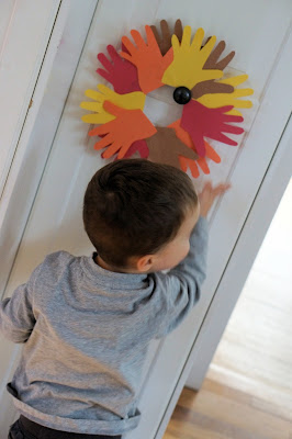 fall hand wreath art craft project toddler kids