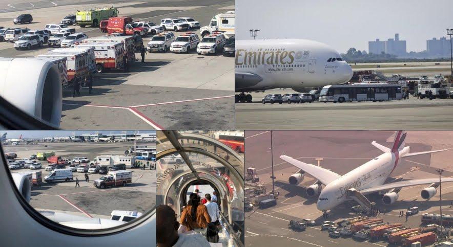 Volo aereo Dubai-New York della Emirates Airlines in quarantena dopo malore passeggeri.
