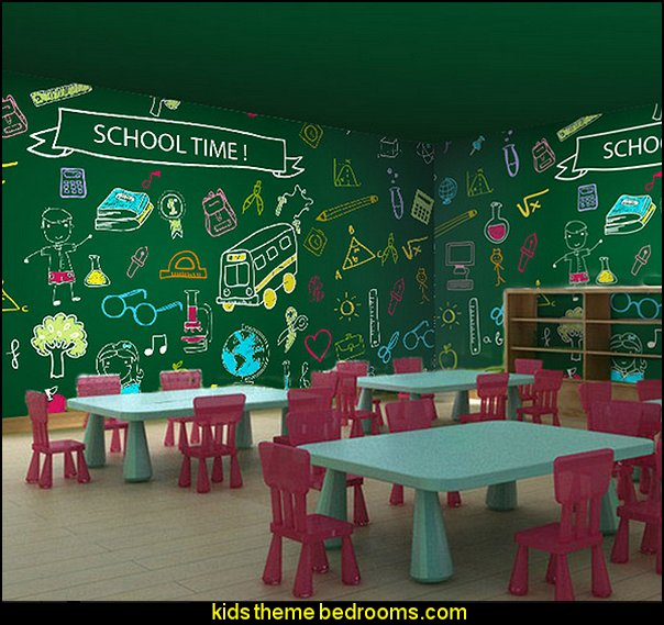 school children blackboard large mural wallpaper living room bedroom wallpaper