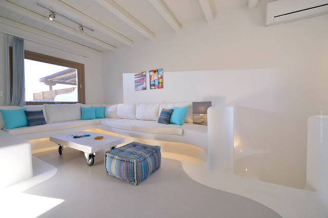 Casa minimalista mas super confortável Mykonos. Achados de Decoração