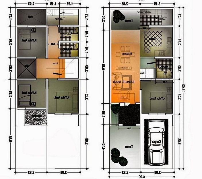 denah rumah 6x10 meter 2 lantai terlihat moderen