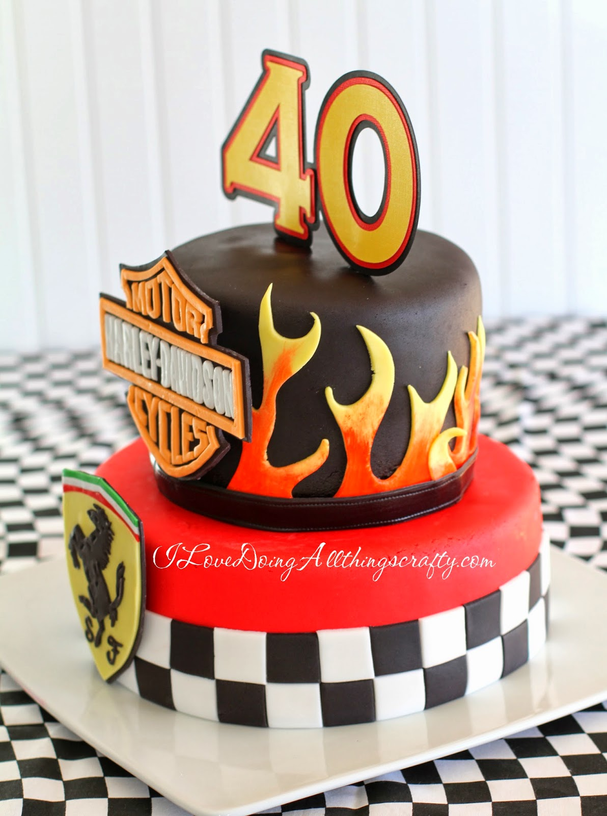 Harley Davidson / Ferrari 40th Birthday Cake | DIY Cakes