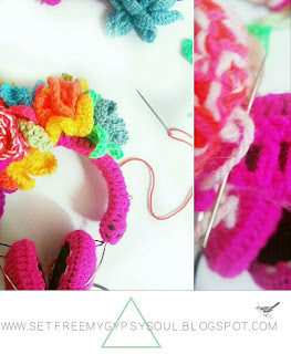 flower crown headphones earphones crochet boho hippie fashion
