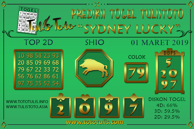 Prediksi Togel SYDNEY LUCKY TODAY TULISTOTO 01 MARET 2019