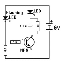 led flasher one transistor raul s diagrams collection the circuit uses a flashing led to flash a super bright 20 000mcd white led
