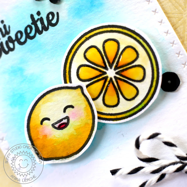 Sunny Studio Stamps: Fresh & Fruity Hi Sweetie Lemon Card by Anni Lerche.
