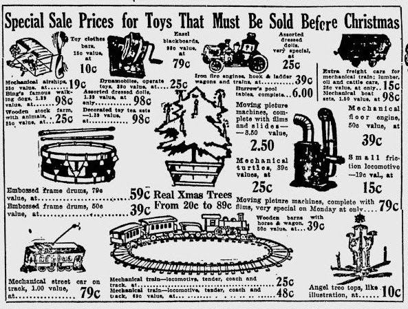 Vintage Toys and Pastimes 1912 CHRISTMAS TOY SALES